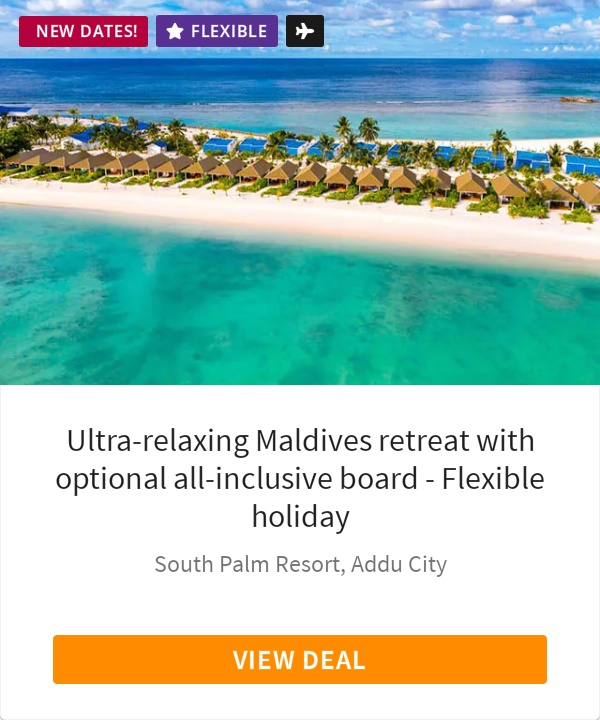 Ultra-relaxing Maldives retreat with optional all-inclusive board - Flexible holiday